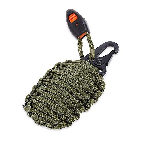 SHOP-STORY - Grenade de Survie - kit de 21 Pièces avec Mousqueton - Vert