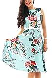 YMING Hepburn Stil Festliches Kleid Sommerkleid Vintage Hepburn Stil Kleid Hochzeitgast Swing Kleid,Grün,Blumen,L/DE 40-42