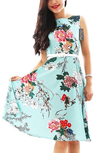 YMING Damen Partykleider Blumenkdruck CocktailkleidPetticoat Kleid Hochzeitgast (Muster Gogo Kleid)