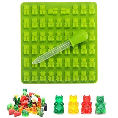 E-CHENG Candy Silicone Molds & Ice Cube Trays Chocolate Molds Gummy Candy Moulds Gumdrop Jelly Molds with Droppers - Bear,53 (Gummy Tray Bear Mold)