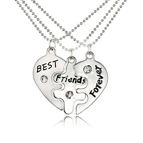 Preisvergleich Produktbild Rosimall Drei in One Einzigartiger handgemachter Herzanhänger mit Gravur Halskette Damen Fashion Schmuck Best Friend Forever