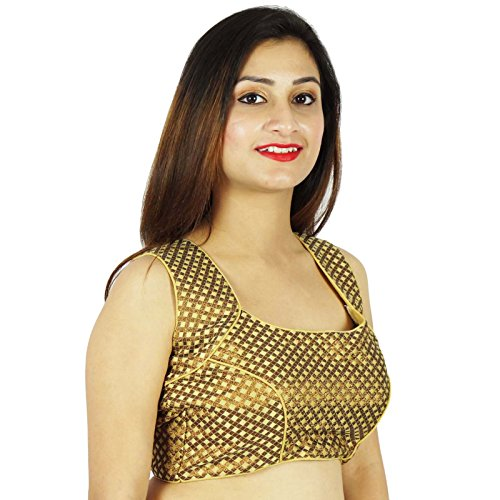 Designer Stitched Blouse Tissage Ready-Made Beige Crop-Top Beige