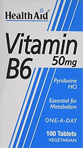 HealthAid Vitamin B6 (Pyridoxine HCl) 50mg - 100 Tablets