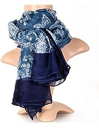 JewelryWe Accessoires Foulard Fille et Femme Large Longue Bohemian Vintage Elégant Coton Echarpe Châle Couleur Bleu 186x107cm