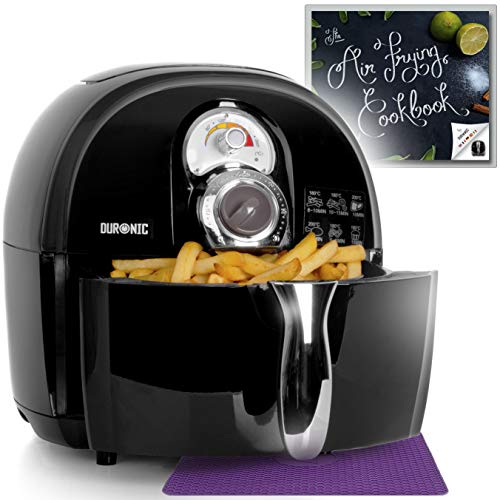 An image of the Duronic Air Fryer AF1 /B BLACK| Oil-Free & Low-Fat Healthy Cooking | Mini Oven | 1500W | 4.5L | Timer Function | Adjustable Temperature | Fry Chips, Chicken, Tasty Nutritious Meals | Free Recipe Book