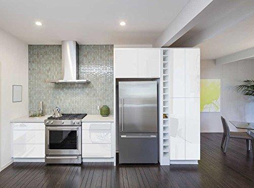 INDIGOS UG - Aufkleber für Küchenschränke 63x500cm GLANZ - weiß - Folie aus hochwertigem PVC Tapeten Küche Klebefolie Möbel wasserfest für Schränke selbstklebende Folie Küchenfolie Dekofolie