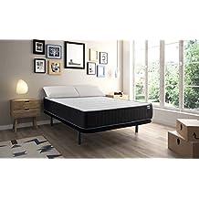 MAXCOLCHON Pack Colchon Confort-Visco + Almohada + Base tapizada 90x190