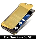 For One Plus 3 / 3T 'MOBISTYLE' New Luxury Smart Semi Clear View Mirror Flip Cover For One Plus 3 / 3T (Gold)