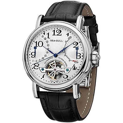 sea-gull gabbiano orologio M172S uomini moda automatico in acciaio meccanico impermeabile zaffiro sintetico cinturino in pelle di cristallo (Nero)