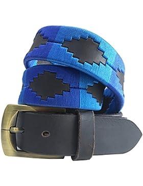 Carlos Diaz Cinturón de polo argentino de cuero Negro bordado para hombres y mujeres unisex