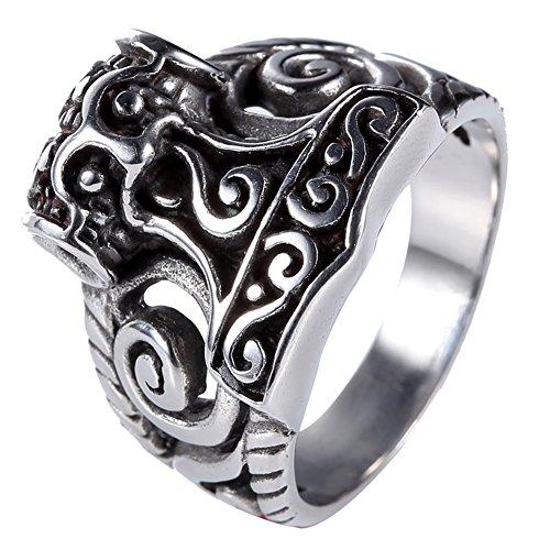 Celtic Norse Myth Viking Gods Thor's Hammer Mjolnir Ring For Men Size 7-13