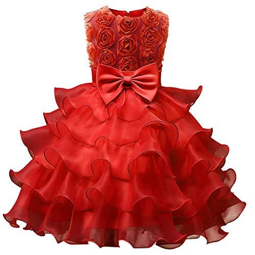 Xinvivion Mädchen Prinzessin Kleider - Mädel Ruffle Belted Prinzessin Tüll Tutu Mädel Kleid Hochzeit Brautjungfer Abendkleidung -
