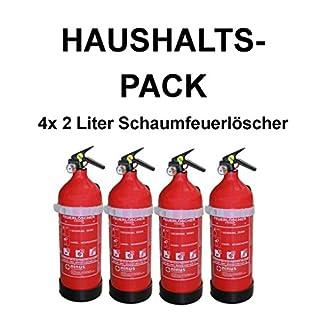4x Fettbrandlöscher für den Haushalt ninux ABF Feuerlöscher Schaum 2 Liter mit Halterung und Manometer