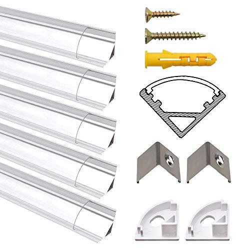 Chesbung [5Pack,1M/3.3ft] Profilo in Alluminio a Forma di V per Striscia a led, con Cover e Tappi di Chiusura laterali. Canalina di Alluminio con Cover, Montaggio Universale