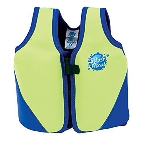 Splash About Kids Neoprene Float Jacket with Adjustable Buoyancy - Lime/Royal, 1-3 Years