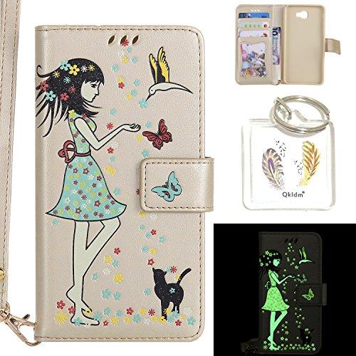 Preisvergleich Produktbild für Galaxy J7 Prime PU Fluoreszenz Leder Silikon Schutzhülle Handy case Book Style Portemonnaie Design für Samsung Galaxy J7 Prime + Schlüsselanhänger ( HWL (8)