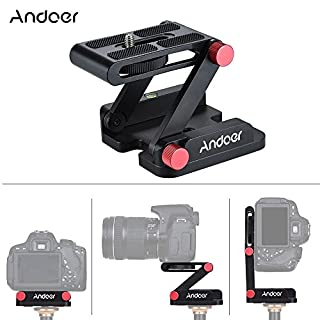 Andoer Z-förmige Aluminiumlegierung-Faltbare Kamera-Camcorder-Desktop-Halter Schnellwechselplatte Neigekopf für Nikon Canon Sony Pentax DSLR-Kamera Videospur Slider Stativ Film Makrofotografie