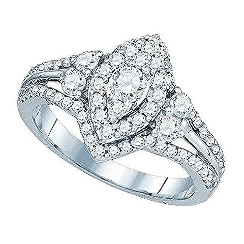 1.01 Carat (ctw) 14 ct White Gold Diamond Split Shank