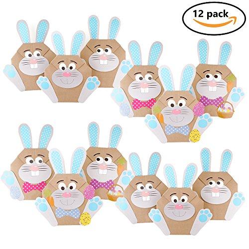 12 DIY Osterhasen Tüten Bastelset zu Ostern – Osterbasteln mit Kindern & Papier – Oster Geschenktüten zum selber Befüllen, Bastelbedarf & das ideale Ostergeschenk