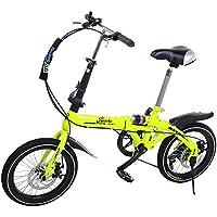 Riscko Super Bike Bicicleta Plegable Unisex de 16 (Amarillo Flúor)