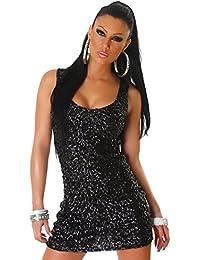 Pailletten Kleider, Cocktailkleider, Party Kleider in 3 Ausführungen & 12 Farben Einheitsgröße (Größe 34 – 38) (Night Black)