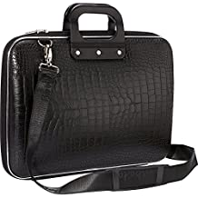 OZOY Synthetic Sleek Faux Leather 14-Inch Briefcase,Laptop,Messenger,Tablet and Office Bag Black with Belt for Man (Black)