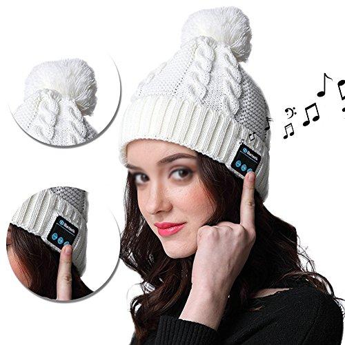 Vandot Damen Outdoor Bluetooth Beanie Mütze mit Wireless Stereo Kopfhörer Mikrofon für iPhone Samsung Android Handys Mädchen Musik Hat PomPom Bommel Bluetooth Wintermütze Wolle Gestrickte Strickmütze Weiß Kompatibel für iPhone X / 8 / 8 plus 7 / 7 Plus / 6 / 6 Plus / 6S / 6S Plus / 5S / 5C / 5 / SE ,Samsung S7 edge/S8/J5/J3/J7/a5/a3/Huawei P8 lite/P10 lite/P9 Lite/Nova young/Y6 pro/Mate 10 lite/P10 (Waschen Genießen Wolle)