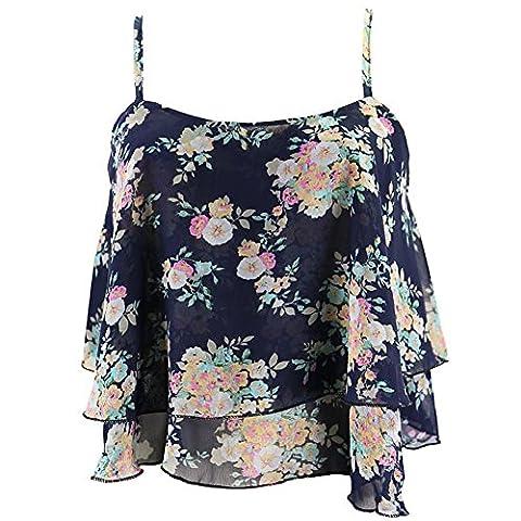 Fletion Damen Mode Sommer Blumen Vintage Chiffon Shirt Oberteile Spaghetti-Bügel