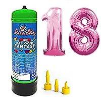 Bombola gas elio da 2,2 litri più palloncini in mylar alti 1 metri color fuxia per festeggiare al meglio il tuo compleanno