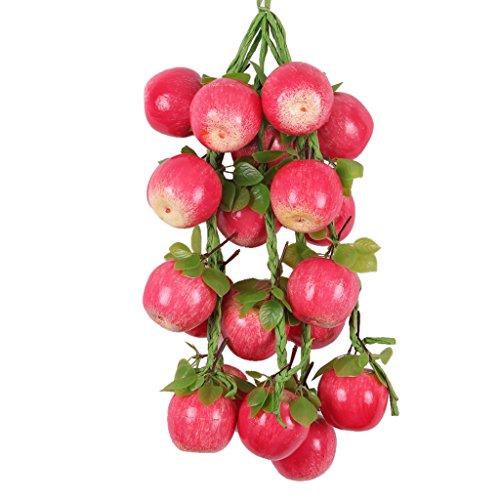 petsola 5 Stücke Künstliche Früchte/Gemüse Saiten Agritainment Farm Hanging Decor - Red Apple, One Size -
