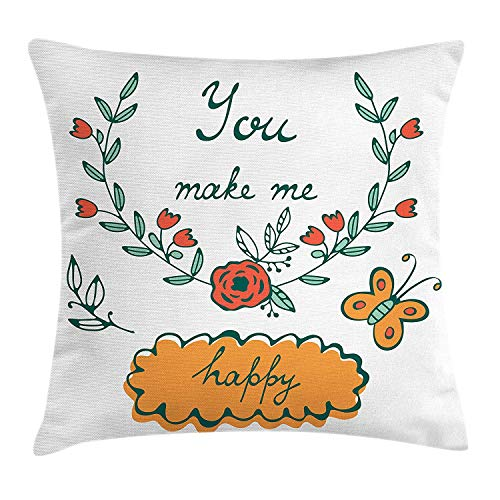 DHNKW You and Me Throw Pillow Cushion Cover, You Make Me Happy Concept Butterflies Rose Flowers Wreath, Decorative Square Accent Pillow Case, 20 X 20 inches, Hunter Green Vermilion Apricot -