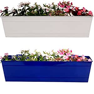 TrustBasket Rectangular Railing Planters White and Blue(23-inch) - Set of 2