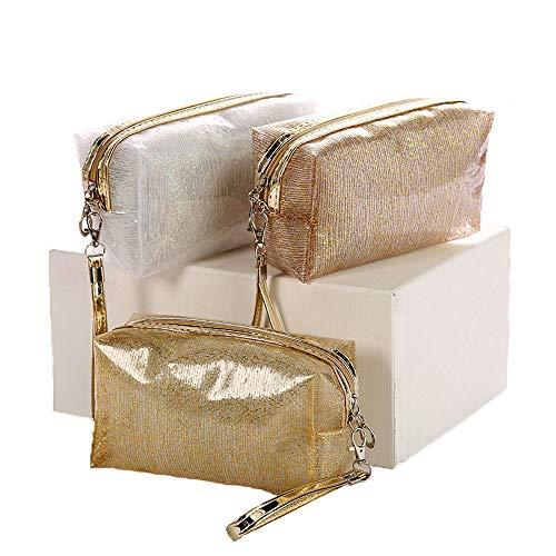 Damen Kreative Transparente Kosmetiktasche, Wasserdichte Shiny Gold Mesh, Tragbare Waschtasche, Leicht und Bequem, Drei Anzüge - Gold-mesh-kupplung