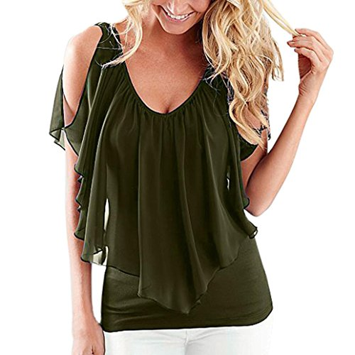 KaloryWee Women's Summer Cold Shoulder V-Neck Ruffles Chiffon Front and Back Top Blouses