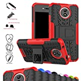 Moto C Case,Mama Mouth Shockproof Heavy Duty Combo Hybrid Rugged Dual Layer Grip Cover with Kickstand For Motorola Moto C Smartphone (With 4 in 1 Free Gift Packaged),Red