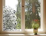 Fenstersticker No. 761Ästen und Vögeln im Oktober, Fenster Film, Fenster Tattoo, Glas Aufkleber, Fenster Kunst, Fenster DÃ © cor, Fensterdekoration, Fensterbild, Maße: 26cm x 22cm