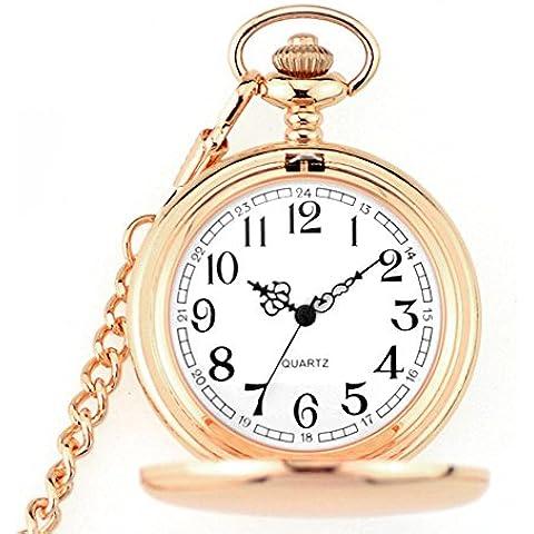 Doppia - retro lucido oro rosa flip Orologio da tasca maschio e femmina allievi Vigilanza di tasca meccanica