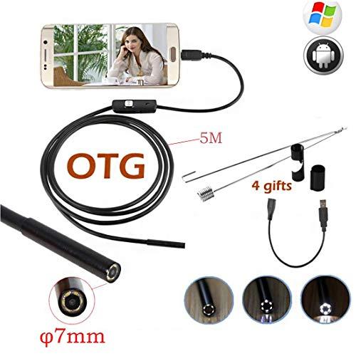 USB-C Endoskop, Typ C-C Periscope-Kamera 7 mm CMOS HD Waterproof Snake mit 6 einstellbaren LEDs für Computer mit Android-, Windows- und MacBook-Betriebssystemen,5M -