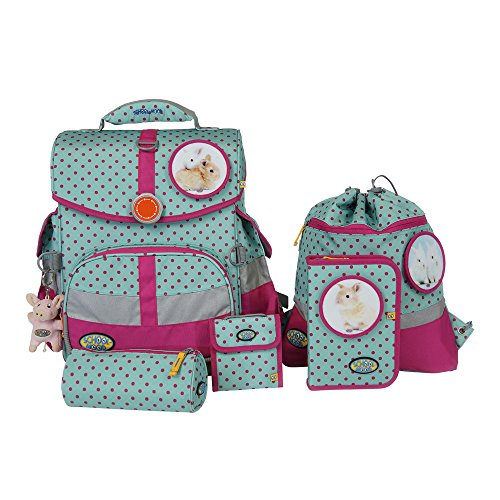School-Mood Schulranzen-Set Timeless 7-tlg Hase 95705 pink dots
