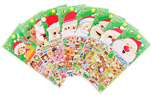 Weihnachten Aufkleber 8 Blätter mit Schneemann und Rentier Kinder Weihnachtsmann Aufkleber zum Scrapbooking Spielzeug Geschenke (Worte Diagramm)