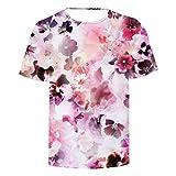 Photo de NIEWEI-YI Hommes Fleur 3D Pattern imprimé T-Shirts Chemise à Manches Courtes à Manches Courtes T-Shirts Blouse Tops par NIEWEI-YI