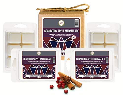 Aira Sojawachsschmelze Bio, veganisch, koscher, Scented Soy Wachs Würfel W/Ätherische Öle No Chemical 100% Soy Wachs schmilzt 4er Pack Cranberry Apple-Marmalade (Pfirsich-öl Bio)