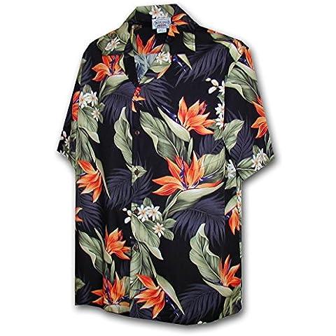 P.L.A.   Original Camicia Hawaiana   Signori   S - 4XL   Maniche Corte   Tasca Frontale   Hawaii Stampa   Fiori   Nero