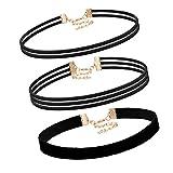 Flongo Choker Halskette, 3 Stück Velvet Samt Leder Halskette Kette Schwarz Choker Tattoo Halsband Punk Gothic Einstellbar Verstellbar Schmuckset Damen