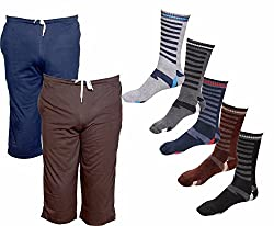 IndiWeaves Mens Combo Pack (Pack of 2 Cotton Mens 3/4 Pants /Capri and 5 Cotton Socks)-Multiple Color_Size-42