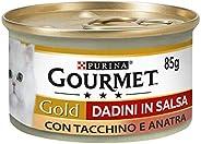 Purina Gourmet Gold Umido Gatto Dadini in Salsa con Tacchino e Anatra, 24 Lattine da 85 g Ciascuna, Confezione
