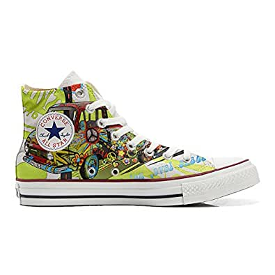 Converse All STar CUSTOMIZED , Sneaker Unisex, printed Italian style Peace and Love - size 35 EU