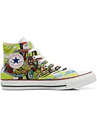 Converse All Star Hi Customized personalisiert Schuhe (gedruckte Schuhe) Peace and Love