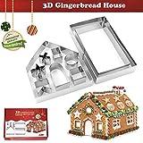 Kaishane Christmas Gingerbread House Cookie Cutters set 3D in acciaio INOX biscotto torta fondente tagliapasta stampo per 10pezzi
