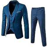 Herrenanzug Herren Slim Fit 3-Teilig Business Anzüge mit Weste Sakko Anzughose See-Blau L